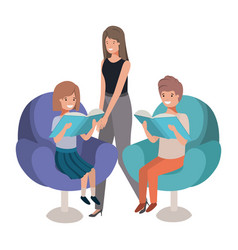 mother and children sitting in chair avatar vector image