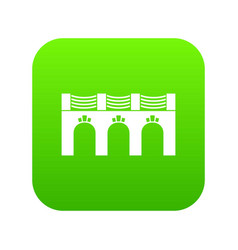 Old arch bridge icon green vector
