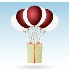 One big gift package soaring with seven helium vector