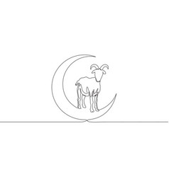 one continuous line drawing sheep standing on vector image
