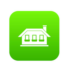 One-storey house with three windows icon digital vector