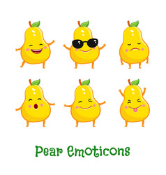 Pear smiles cute cartoon emoticons emoji icons vector