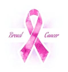 Pink ribbon breast cancer vector image