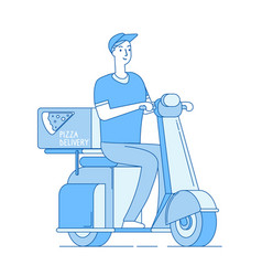 Pizza delivery boy riding motorbike scooter vector