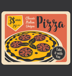 pizzeria retro menu with pepperoni vector image