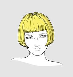 Portrait of blonde girl vector image