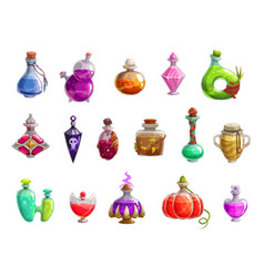 Potion bottles with magic liquid elixir of witch vector