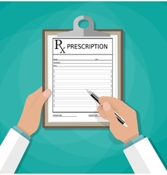 Prescription clipboard and pen Rx form vector