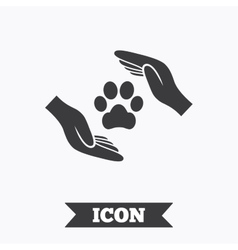 Protection of animals sign icon Hands vector image