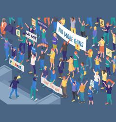 Protesting people isometric horizontal vector