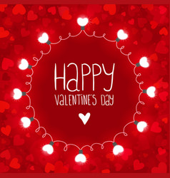 red background with lights for valentines day vector image