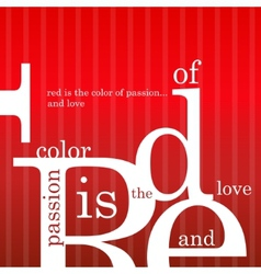 red is the color of passion and love vector image
