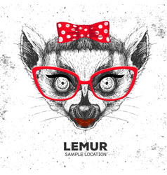 Retro hipster animal lemur hand drawing muzzle vector