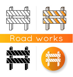 road barrier icon striped block on highway dead vector image