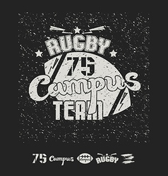 Rugby emblem campus team vector image