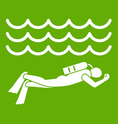 scuba diver man in diving suit icon green vector image