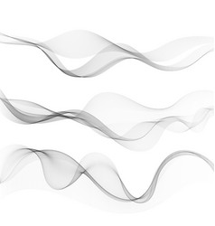 set abstract lines with grey waves with gray vector image