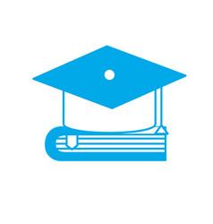 Silhouette cap graduation over close book vector