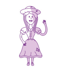 Silhouette pretty woman with hat and dress vector