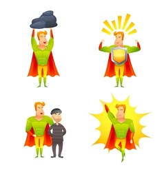 Superhero cartoon character power icons set vector