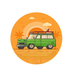 surfing car seaside icon in line art vector image