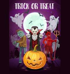 Trick or treat halloween holiday monsters vector