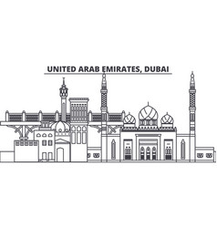 united arab emirates dubai line skyline vector image