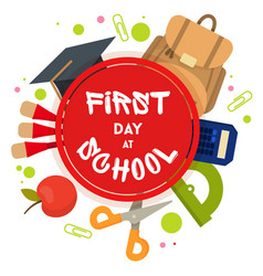welcome back to school label badge vector image