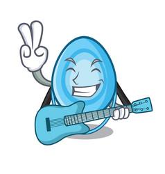 with guitar oxygen mask mascot cartoon vector image