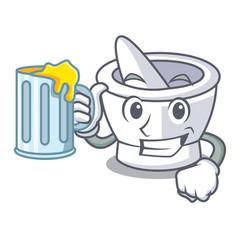 With juice mortar mascot cartoon style vector