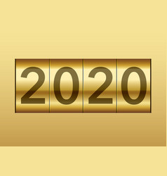 year 2020 displayed on a mechanical counter vector image