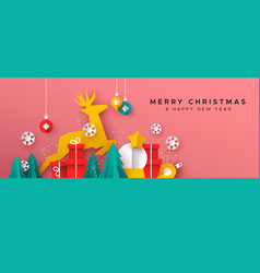 year card paper cut toy landscape vector image