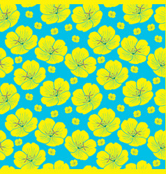 Yellow hand drawn yellow flower seamless pattern vector
