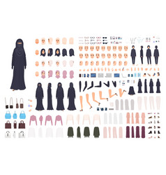 Young arab woman in burqa constructor set or vector