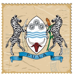Coat of arms of Botswana on the old postage stamp vector image