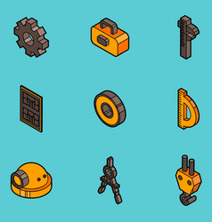 engineering flat outline icons vector image vector image