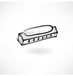 harmonica grunge icon vector image