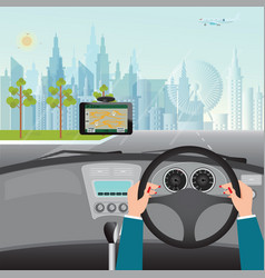 human hands driving a car with gps navigation vector image