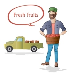 Middle aged man-farmer with box of fruits on white vector image