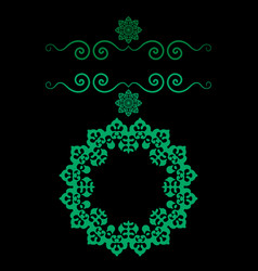 ornamental frame in green color with bended vector image vector image