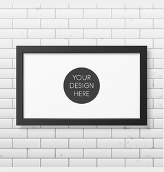 Realistic black frame on the brick wall vector image vector image