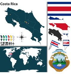 Costa Rica map world vector image