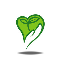 hand holding plant logo vector image