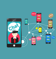 people chat room community app for smartphone vector image vector image