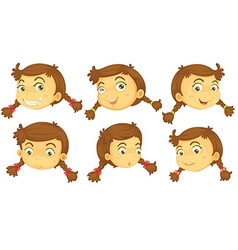 Variations of a girls faces vector image vector image