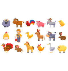 farm animals set male farmer livestock and pets vector image
