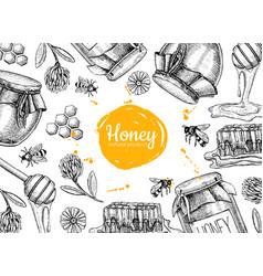Honey hand drawn frame jar vector