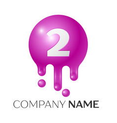 Number two splash logo purple dots and bubbles vector