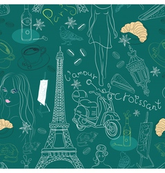 seamless paris background vector image vector image