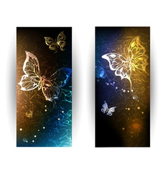 Two Banners with Glowing Butterflies vector image